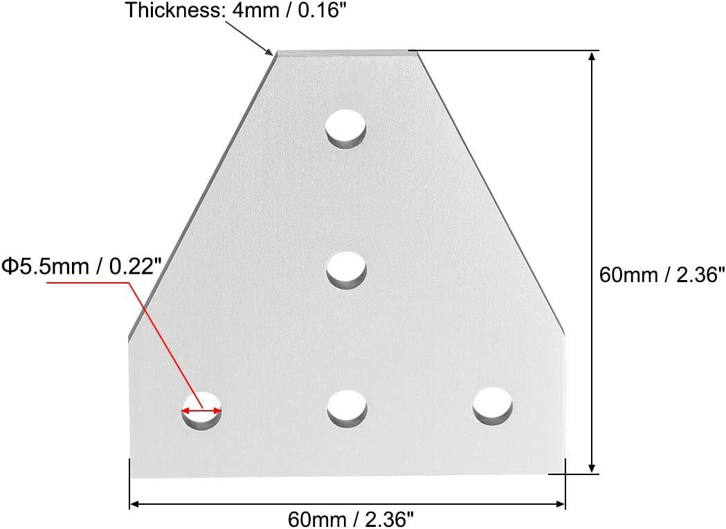 60 mm x 60 mm x 4 mm Sourcing Map T-f/örmige Verbindungsplatte mit 5-Loch-Gelenk-Halterung f/ür 2020 Aluminium-Profil