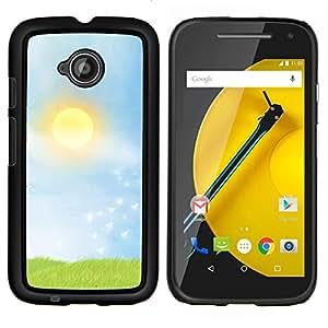 YiPhone /// Prima de resorte delgada de la cubierta del caso de Shell Armor - Naturaleza Sunset Campo - Motorola Moto E2 E2nd Gen