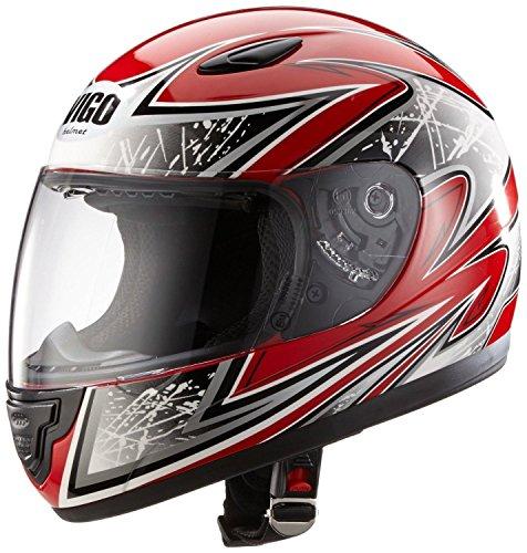 Protectwear SA03-RT-S Kinder Motorradhelm, Integralhelm, Größe S, Rot/Silber