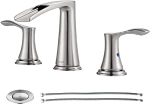 PARLOS Waterfall Widespread Bathroom Faucet 2 Handles with Metal Pop Up Drain & cUPC Faucet Supply Lines, Brushed Nickel, Demeter 1431802