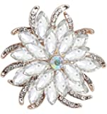 YouBella Jewellery Stylish Crystal Floral Shape Unisex Brooch for Women/Girls/Men/Boys
