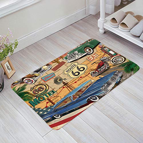 Decor Love Antique Car Accent Mats Non-Skid Rubber Entrance Mats Rugs Shoes Scraper Indoor/Bathroom/Kitchen/Bedroom Old Classic Car Theme American Vintage Route 66 Diner Motorcycle, 20'' W by 31.5''L