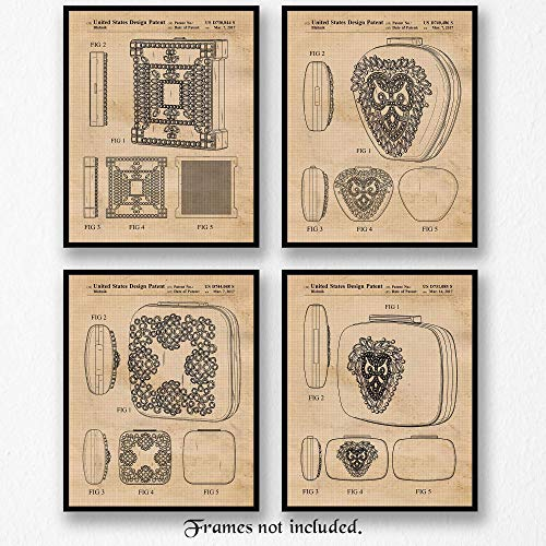 (Original Manolo Blahnik Handbag-Clutch Patent Poster Prints - Set of 4 (Four) 8x10 Unframed Pictures - Great Wall Art Decor Gifts Under $20 for Home, Office, Fashion House, Designer,)