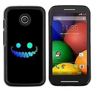 Caucho caso de Shell duro de la cubierta de accesorios de protección BY RAYDREAMMM - Motorola Moto E - Sonrisa divertida Cara Dientes Evil Negro