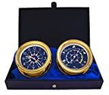 Windlass Gift Set Clock & Barometer by Master-Mariner, Gold finish, Blue flag dial