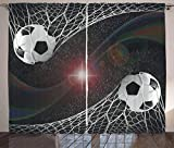 Ambesonne Teen Room Decor Curtains, Soccer Balls Goal Match Success Concept in Outer Space Winner Glory Theme, Living Room Bedroom Window Drapes 2 Panel Set, 108 W X 108 L Inches, Multicolor
