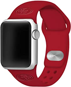 GAME TIME San Francisco 49ers Debossed Silicone Sport Watch Band Compatible with Apple Watch (42/44mm - Crimson)