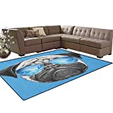 Pug,Carpet,Pug Portrait with Mirror Sunglasses Hand Drawn Illustration of Pet Animal Funny,Rugs for Living Room,Pearl Blue Black Size:5'x6'