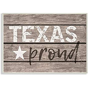 The Stupell Home Décor Collection Texas Proud Typography Lone Star Wall Plaque Art, 10 x 15