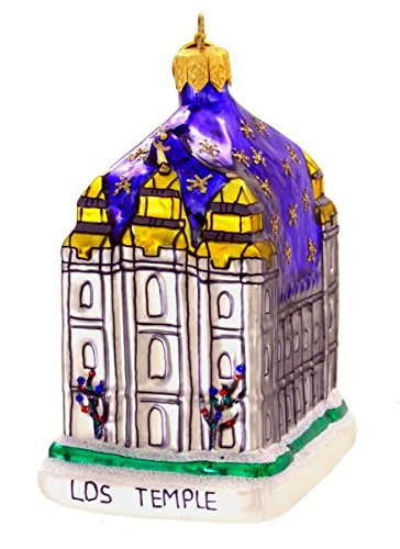 Landmark Creations Salt Lake City, Utah Latter Day Saints Temple Polish Glass Blown Christmas Ornament (Holiday Park Upward)