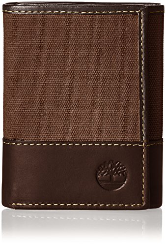 (Timberland Men's Canvas & Leather Trifold Wallet, Dark Earth, One Size)