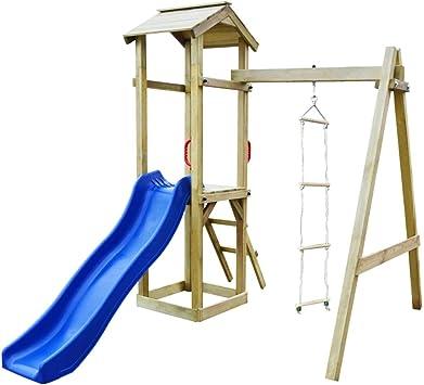 vidaXL Parque Infantil con Tobogán y Escaleras de Madera Juego de Exteriores: Amazon.es: Juguetes y juegos