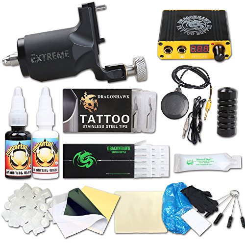 Dragonhawk Complete Tattoo Kit Extreme Rotary Tattoo Machine Mini Power Supply 0.5oz Immortal Tattoo Inks Tattoo Needles