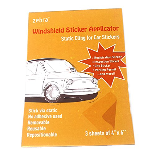 Zebra Windshield Sticker Applicator - Static Cling for Stickers, 4 Inch by 6 Inch Clear Films, Works with Registration Sticker, Inspection Sticker, City Sticker and Parking Permit, Pack of 3 Sheets ()