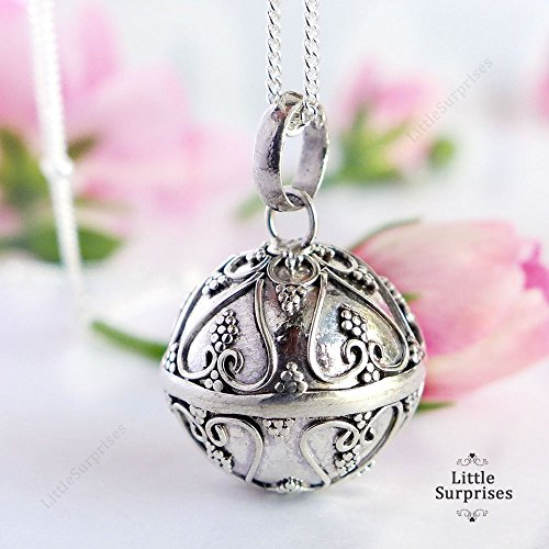 18mm Angel Caller Chime Bell Hearts Pendant Sterling Silver Harmony Ball 30 Necklace LS78