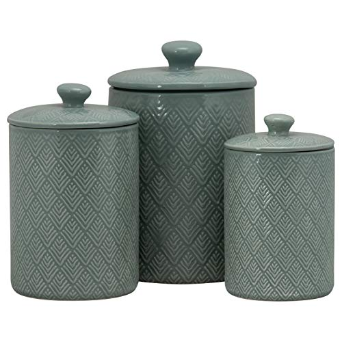 10 Strawberry Street CAN BLU Marquis Kitchen Canister Set, Set of 3, Blue