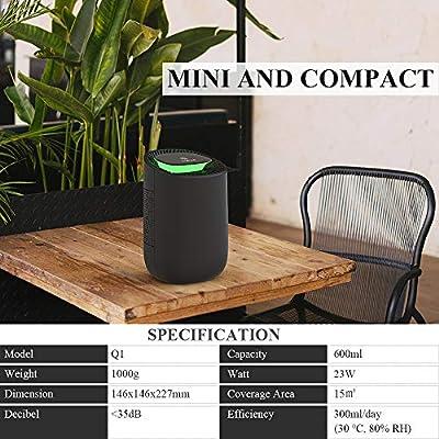 .com - hysure Quiet and Portable Dehumidifier Electric, Deshumidificador, Home Dehumidifier for Bathroom, Crawl Space, Bedroom, RV, Baby Room (600ml) -