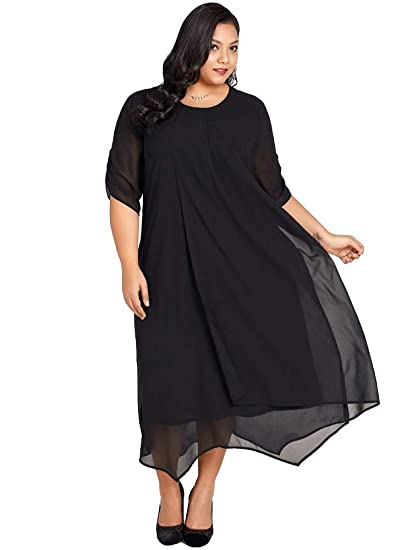 Jose Pally Women Plus Size Chiffon Maxi Dress Casual Loose Long Dress Solid  Black Gown with ece2bad15396