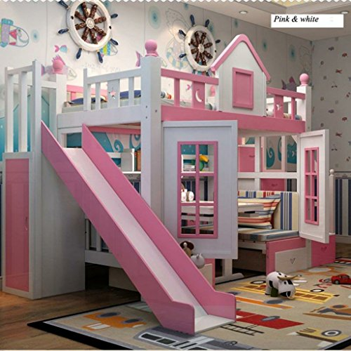 Reelsplace Modern children bedroom furniture princess castle with slide storages cabinet stairs double children bed