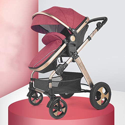 TXTC Compact Convertible Luxury Strollers, Pushchair Stroller,Portable Pram Carriage Multifunctional Pushchair ,5-Point Harness and High Capacity Basket (Color : Red)