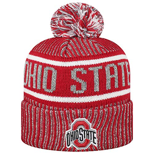 Top of the World Men's NCAA Glacier Cuffed Knit Beanie Pom Hat-Ohio State Buckeyes (Ohio State Beanie Womens)