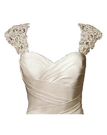 4ef902582fe BRL MALL Exquisite Crystal Beaded Detachable Cap Sleeve Lace Wedding Dress  Bolero Jacket (S-M