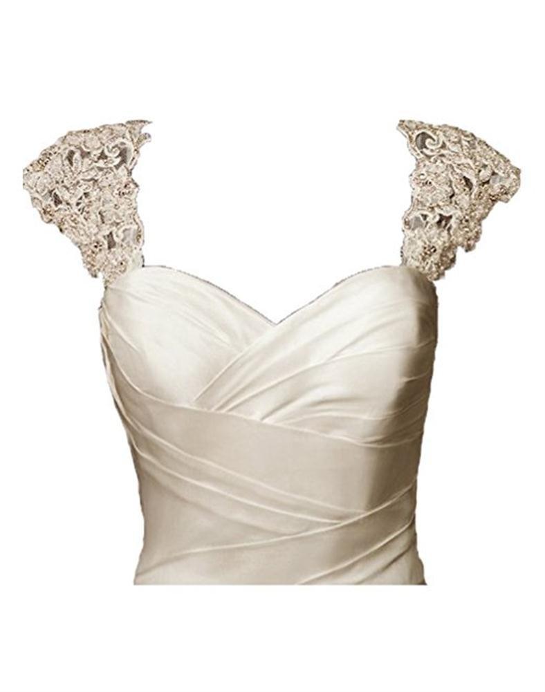 BRL MALL Exquisite Crystal Beaded Detachable Cap Sleeve Lace Wedding Dress Bolero Jacket (S-M, Ivory)
