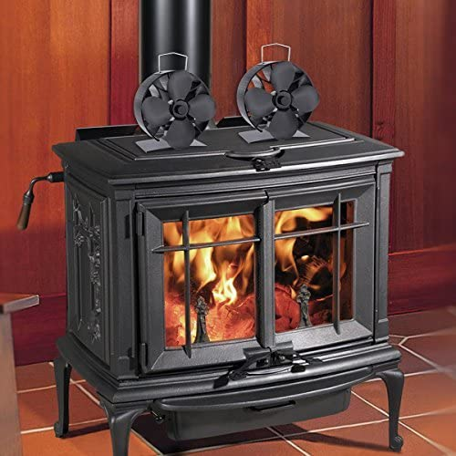 New in 2018 4-Blade Heat Powered Stove Wood Stove Heat Powered Fan Stove Top Fan Heat Driven Stove Fireplace Fan (round)