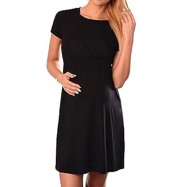 Damen Umstandskleid Kurzarm Sommerkleid für Schwangere, 2in1  Schwangerschaft und Stillen Still-Kleid, Frauen 770138a4ee