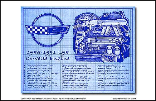 1985-1991 L98 Corvette Engine Blueprint Series Art - Engine C4 Corvette
