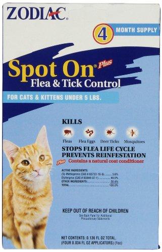 Zodiac Spot On Plus Flea & Tick Control for Cats & Kittens Under 5 Poundsr, 4-Month Supply