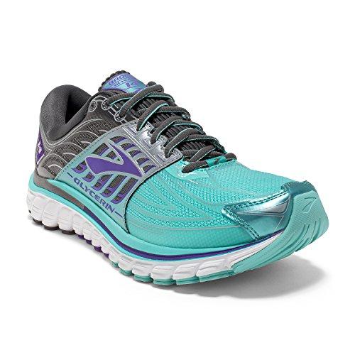 Brooks Womens Glycerin 14 Aruba Blue/Anthracite/Purple Love Running Shoe (10)