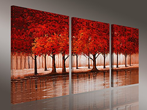 Artwork Set (Skywardart-sky05 Red Forest Modern 3 Piece Stretched and Framed Artwork Giclee Canvas Prints Landscape Paintings on Canvas Wall Art for Living Room Bedroom Home Decorations)