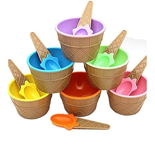 Vibola 6PC Ice Cream Bowls Ice cream Cup with a spoon for kids boys girls cute lovely a set of ice cream tool Summer use (Blue)