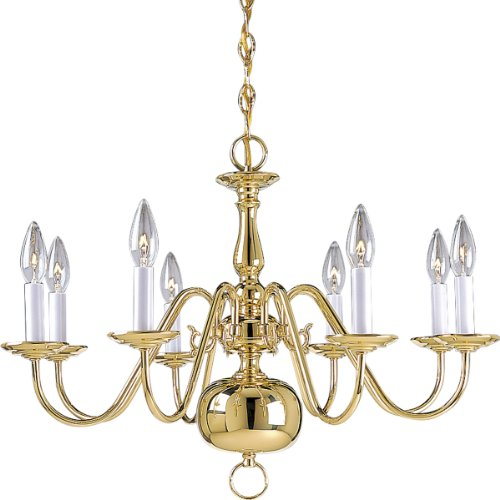 (Progress Lighting P4357-10 8-Light Americana Chandelier with Delicate Arms and Decorative Center Column and Candelabra Lamps, Polished Brass)