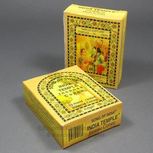 Song of India - India Temple Cone Incense, 2 x 25 Cone Pack, 50 Cones Total, (IN7) - Incense Sticks Temple