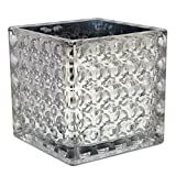 Flower Glass Vase Decorative Centerpiece For Home or Wedding by Royal Imports - Elegant Dimple Effect Cube, 5