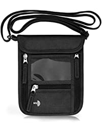 Passport Holder Neck Pouch Travel Neck Wallet with RFID Blocking – 7 Pockets with Adjustable Neck Strap to Keep Your Passport Document and Credit Card Safe (Black)
