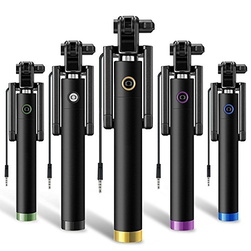 Goods Selfie Stick 3rd Gen Wired Selfie Stick Monopod Holder with AUX Cable for Smartphones (Multicolour, DD-189)