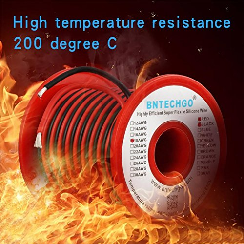 BNTECHGO 18 Gauge Silicone Wire Spool 50 feet Ultra Flexible High Temp 200 deg C 600V 18 AWG Silicone Wire 150 Strands of Tinned Copper Wire 25 ft Black and 25 ft Red Stranded Wire for Model Battery by BNTECHGO (Image #4)