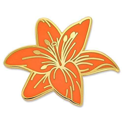 - PinMart Orange Tiger Lily Flower Jewelry Quality Enamel Lapel Pin