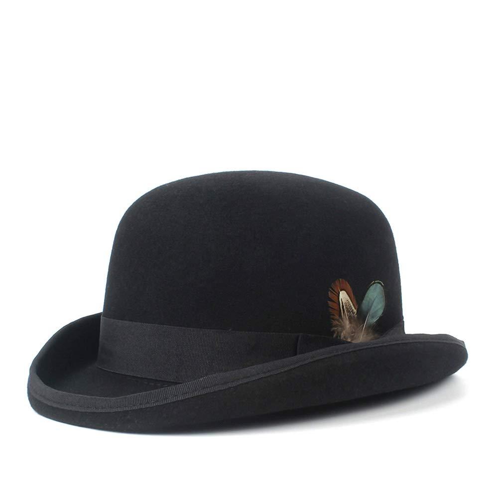 For women's hats 100% wool Bowler Hat Cowboy Fashion Equestrian cap. for Women Party Fashion Men's Black Brown Adjust Hat (Color : Black, Size : 59CM)