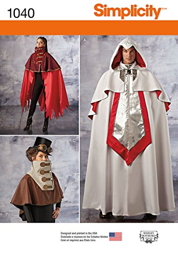Simplicity Pattern 1040 Misses' and Men's Cape Costumes, Size XS-XL (Comic Book Character Costumes Uk)