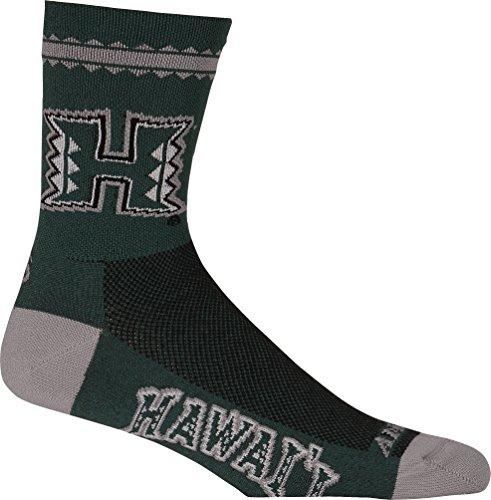 Adrenaline Promotions NCAA Hawaii Rainbow Warriors Running/Cycling Socks, Large/X-Large, Green ()