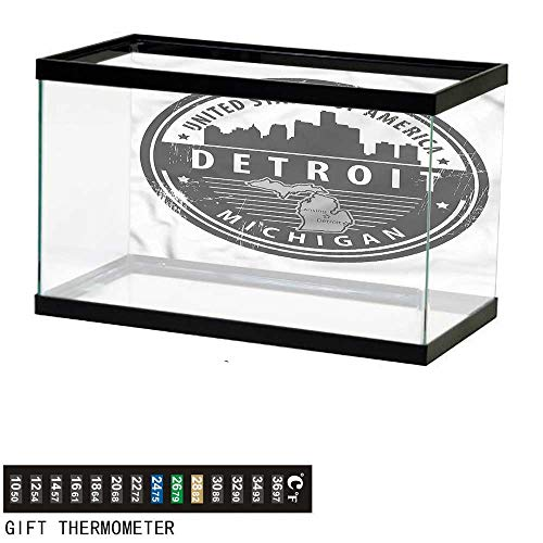 bybyhome Fish Tank Backdrop Detroit,Michigan Old Stamp,Aquarium Background,36