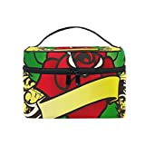 MaMacool Rose Tattoo Cosmetic Bags for women Travel Makeup Toiletry Organizer Case