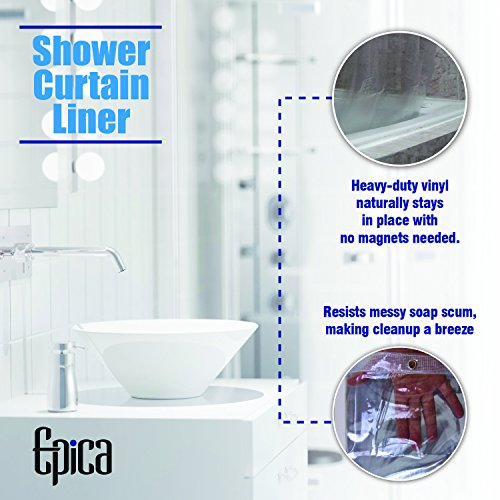 Strongest Mildew Resistant Shower Curtain Liner on the Market-100% Anti-Bacterial 10 Gauge Heavy Duty Liner-Waterproof-72x72 Inches-Clear