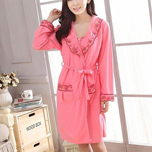 HXQ Traje de baño largo de algodón de las mujeres , dark pink dark pink