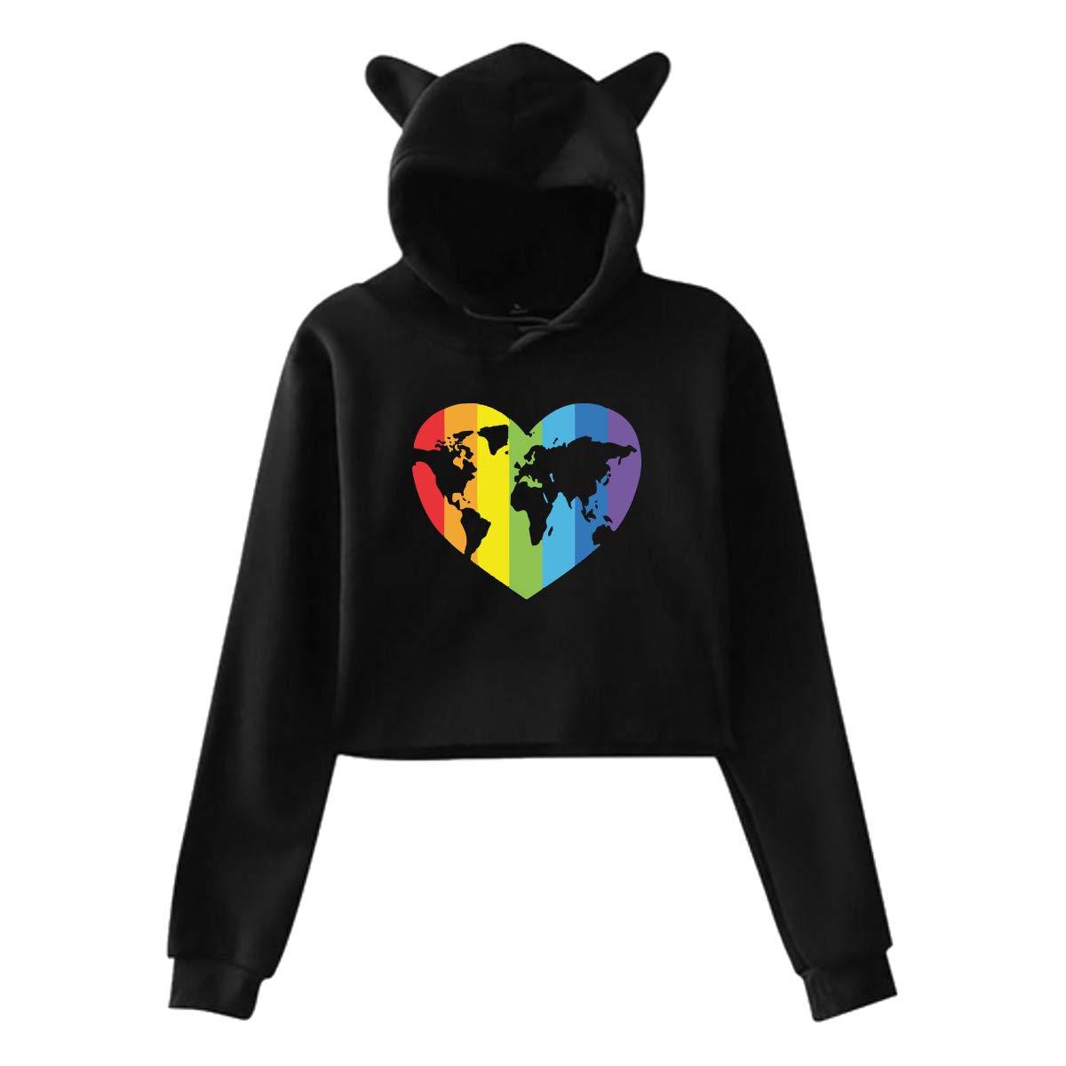 Gay Pride Girls Cute Cat Ear Crop Tops Hoodie Sweater Pullover Sweatshirt