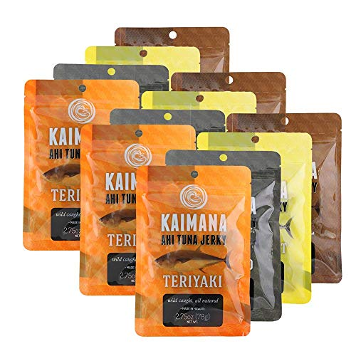 Kaimana Jerky Ahi Tuna Variety - 12 Pack Bundle, Protein Rich & Good Source Of Omega 3s - Tasty, Delicious, and All Natural Ingredients. Made In Hawaii, USA.
